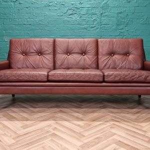 Mid Century Retro Danish Cognac Brown Leather 3 Seat Sofa by Skippers Mobler 60s